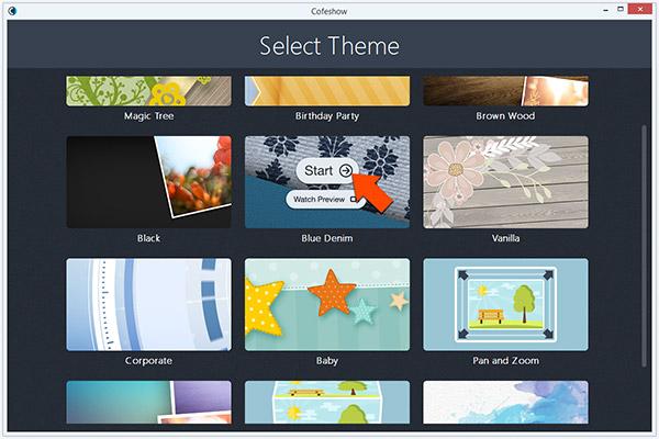 choose video slideshow theme