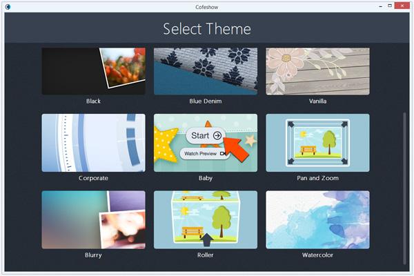 select video slideshow theme