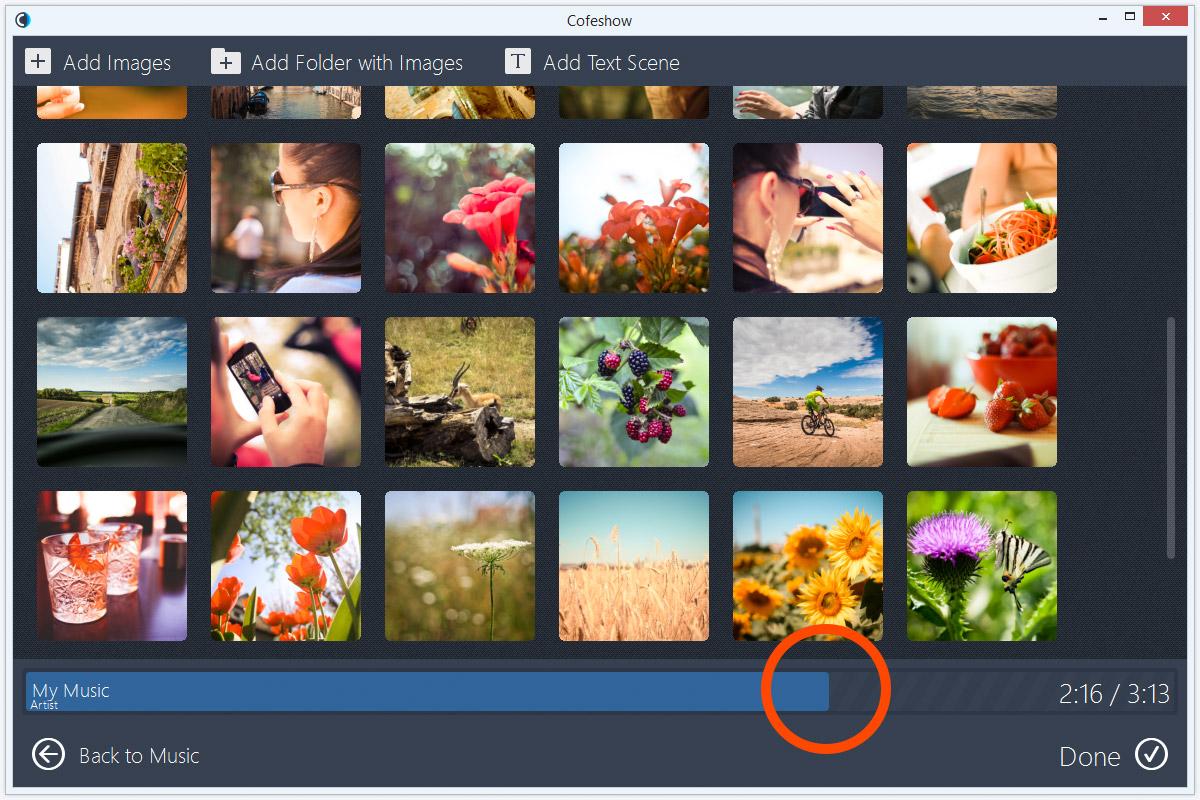 With slideshow music photo